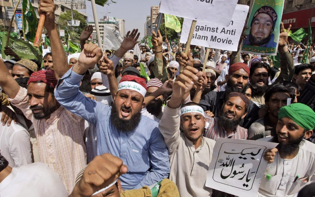 The protesters claim to be supporters of ex-Punjab Governor, Salman Taseer's murderer Mumtaz Qadri's supporters but brand themselves as Ashiqan e Rasul SAWW
